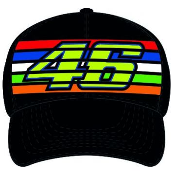 VR46 Cap Rossi Stripes Black